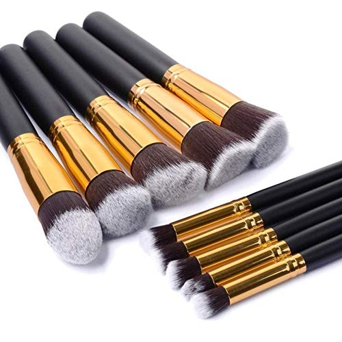 JXD Makeup Brush Set Kit Cosmetics Foundation Powder Blending Blush Lady Beauty Makeup Tools 10 Pcs,Black-Gold
