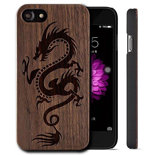 YUANQIAN Hoes voor iPhone 7 Reiziger Houten Hoesje - Zwarte Beschermende Bumper met Echte Alle Houten Hoesje (Draak)