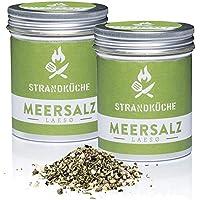 Strandküche Laesø Sal marina Mezcla de especias 2x60 g I Sal marina gruesa y fina con azúcar de caña tomillo Pimienta I sal de especias orgánicas sin aditivos para un sabor armonioso