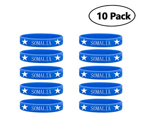 10 Pack Somalia Africa Country Flag Silicone Rubber Blue Bracelet Wristband
