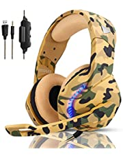 Gaming Headset for PS4, Xbox One, PC, Laptop, Mac, Nintendo Switch, PHOINIKAS 3.5MM PS4 Headset with Mic, Over Ear Headset, Noise-Cancelling Headset, Bass Surround, LED Light