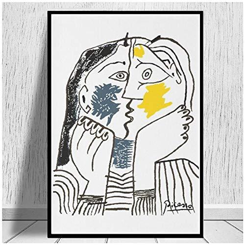 Pablo Picasso Der Kuss, Kunstdruck, Reproduktion, Wohnzimmer, Wandkunst, Poster, Leinwanddruck, Heimdekoration, 50 x 70 cm, ohne Rahmen