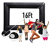 16 Feet Inflatable Outdoor and Indoor Theater Projector Screen - Includes Inflation Fan, Tie-Downs and Storage Bag - Supports Front and Rear Projection