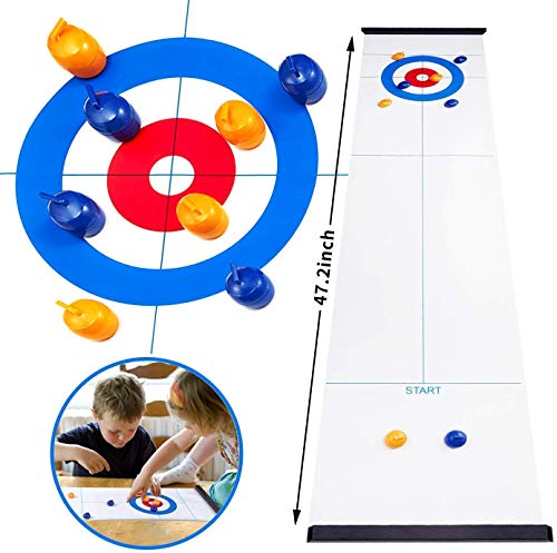Lowest Prices! Tabletop Curling Game,Compact Curling Family Games for Kids and Adults Compact Curlin...