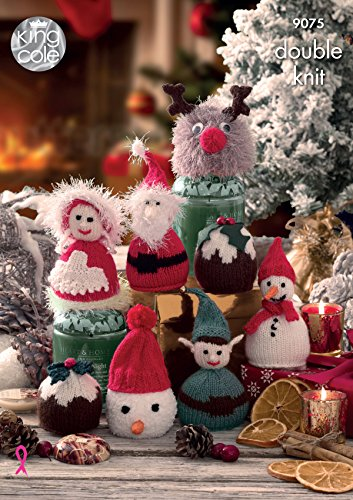 King Cole 9075 Knitting Pattern Christmas Candy Cosies in Dollymix and Pricewise DK