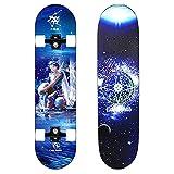 Skateboard Ruedas de luz LED Acuario Pro Patineta Completo Monopatín de Madera 7 Capas de Arce Tabla de Skateboard para Principiantes con rodamientos para Niñas Niños Adolescentes Adultos