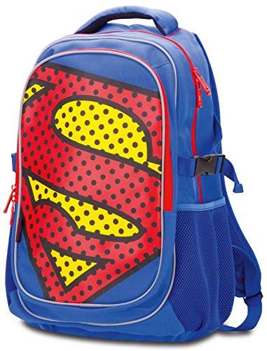 Schulrucksack Für Jungen Teenager – Kinderrucksack mit Laptopfach und Regenponcho Für Schule – Schultasche mit Brustgurt und Reflektierenden Elementen by Baagl (Superman - Pop)