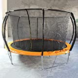YOGAA 10ft Outdoor Trampoline Set with Premium Top-Ring Frame Enclosure, Safety Net, Pad, Jumping Mat, Backyard Trampoline for Kids Pumpkin-Shaped