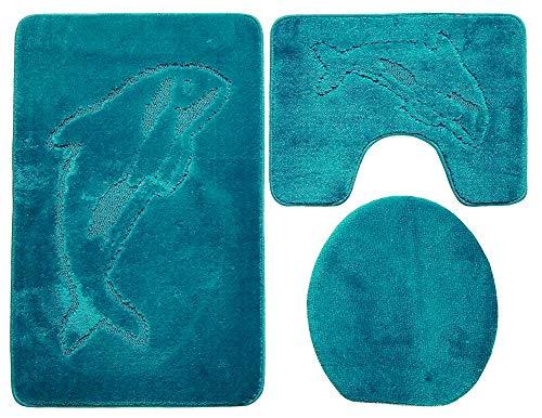Ilkadim Delphin Badgarnitur 3 TLG. Set 55x85 cm einfarbig, WC Vorleger mit Ausschnitt für Stand-WC (Petrol hell)