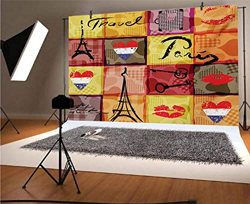 Modern 10x8 FT Vinyl Photography Backdrop,Collage Print Colorful Hearts Eiffel Tower French Flag and Paris Lettering Artful Background for Photo Backdrop Baby Newborn Photo Studio Props