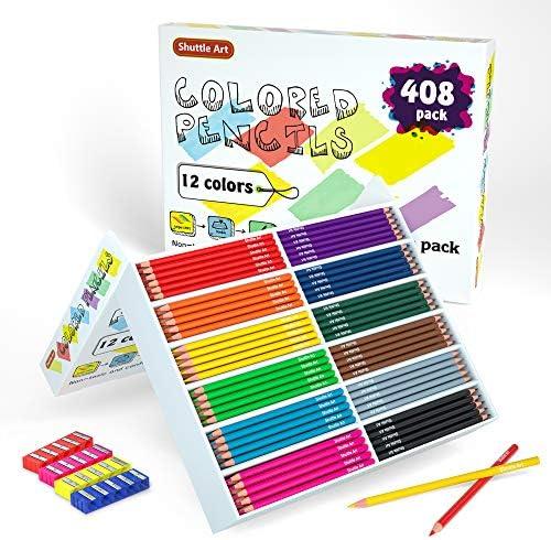Colored Pencils Bulk Shuttle Art 408 Pack Coloring Pencil Set Plus 20 Sharpeners 12 Assorted product image