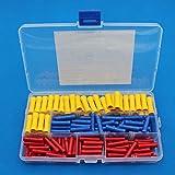 Raogoodcx 150Pcs Terminales de empalme a tope aislados, juego de conectores de crimpado de alambre eléctrico, amarillo, azul, rojo