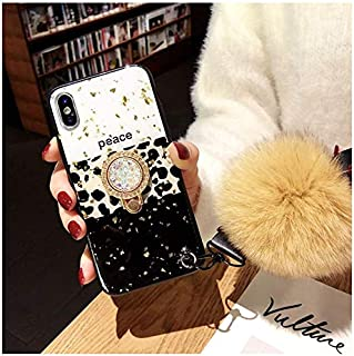 for iPhone Xs Max Bling Fur Ball Case with Ring Holder - Glitter Leopard Print Kickstand Case with Ring Stand Holder Wrist Strap Fuzzy Ball Women Girls for iPhone Xs Max