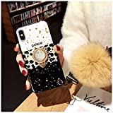 Galaxy S10 Bling Fur Ball Case with Ring Holder - Glitter Leopard Print Kickstand Case with Ring Stand Holder Wrist Strap Fuzzy Ball Women Girls for Samsung S10