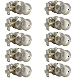 satin door knobs - Probrico 10 Pack Privacy Door Knobs, Satin Nickel Bath Bed Lockset, Stainless Steel Interior Keyless Door Knobs Locks Handles(Bedroom & Bathroom)
