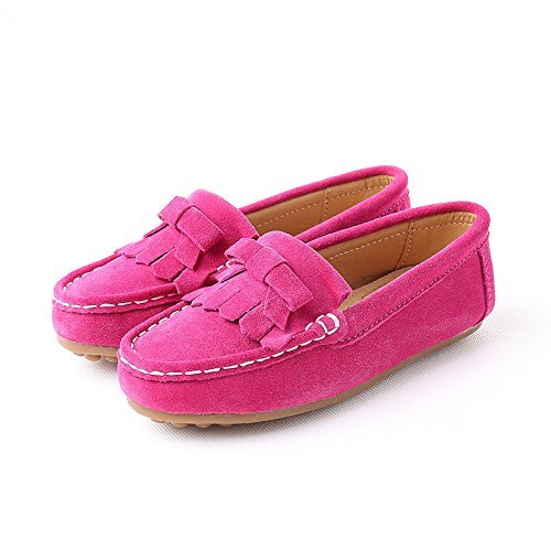 KEESKY Slip-on Flat Oxford Shoes for Toddler Kids Boys Girls Slip-onCasualSneakers Rose Red Size 1.5