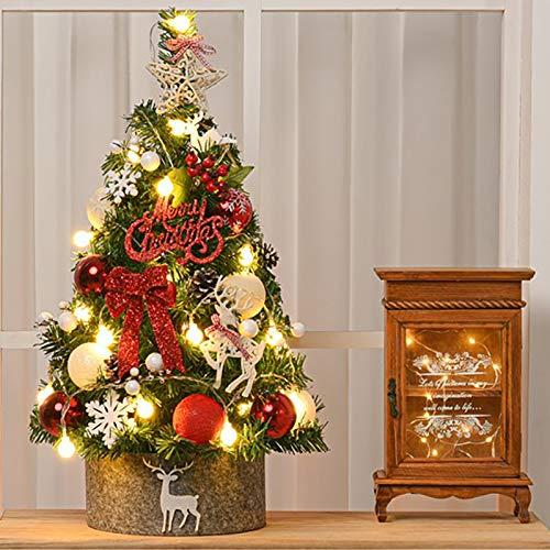 Nileco Mini Tischplatte Weihnachtsbaum,Mit Led-leuchten Und Zaun,Klein Vergossen Christbaum Dekorative Bonsai-Baum Mini Künstlicher Weihnachtsbaum