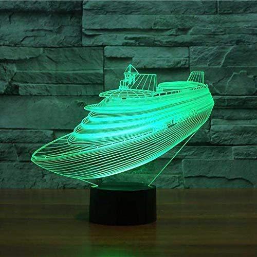 Licht 7 Farbwechsel 3D Led Nachtlichter Kreuzfahrt Yacht Modell Schreibtisch Tischlampe Nacht Vision Schiff Schiff Schlafzimmer Schlaf Beleuchtung Dekor Acryl Lampe