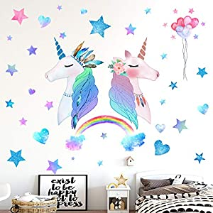 HONEYJOY 3 Sheets Large Size Unicorn Bedroom Decor for Girls, Wall Stickers for Bedroom Kids, Rainbow Wall Decal, Nursery Christmas Birthday Party Decoration