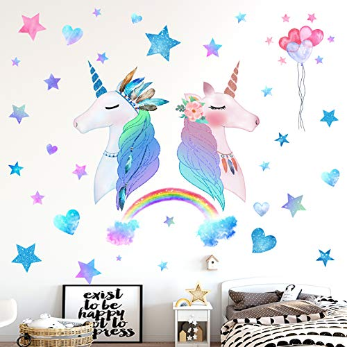 HONEYJOY 3 Sheets Large Size Unicorn Bedroom Decor for Girls Wall Stickers for Bedroom Kids Rainbow Wall Decal Nursery Christmas Birthday Party Decoration