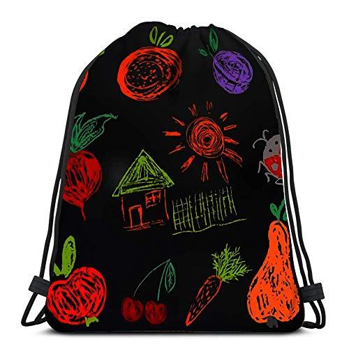 EU Kordelzug Taschen Rucksack Aprikose Orange Pflaume Rettich Rote Beete Haus Zaun Sonne Marienkäfer Reiserucksäcke Tote School Rucksack Gedruckt