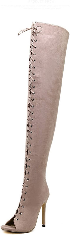 AdeeSu Womens Fashion Braid Peep-Toe Microsuede Boots