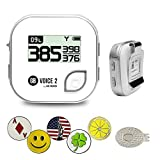 GolfBuddy Voice 2 Silver Color Golf GPS/Rangefinder Bundle with 1 Magnetic Hat Clip and 5 Ball Markers