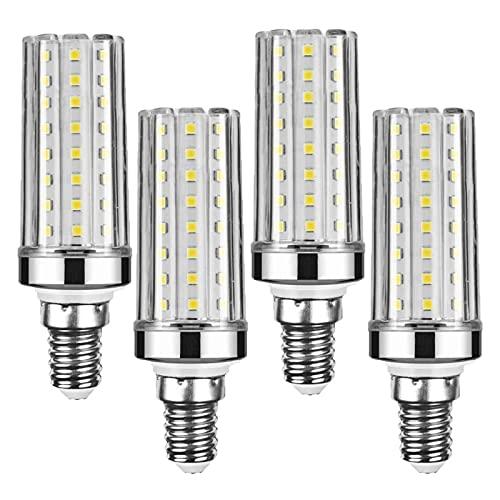 Lxcom Lighting 16W E12 LED Corn Bulbs Candelabra LED Bulb(4 Pack)- 2835 SMD 80 LEDs 150 Watt Equal Daylight White 6000K LED Chandelier Bulbs 1600LM Decorative Bulb E12 Base for Home Lighting,AC85-265V