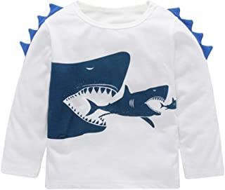 Baby Clothes, Auwer Toddler Boys Shark Long Sleeve T Shirts Top Tee Size 1-5 Years (White, 5T)