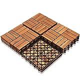 SONUG 22x Baldosas de madera en acacia, Decking Tiles, Azulejos de madera, para Patio balcón...