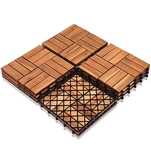 SONUG 55x Baldosas de madera en acacia, Decking Tiles, Azulejos de madera, para Patio balcón terraza jardín(Model A | 5m²)