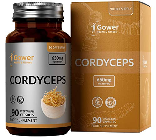 GH Cordyceps Sinensis Mushroom Capsules | Vegan Funghi Supplements for Improved Athletic Performance & Body's Defenses | Non-GMO, Dairy & Gluten Free | 90 Capsules