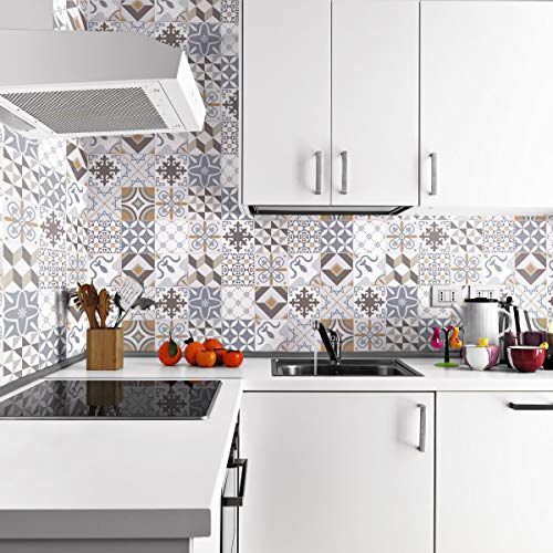 24 tegelstickers | stickers zelfklevende tegels – mozaïek tegels wandtattoo badkamer en keuken | tegellijm – traditionele beige – 10 x 10 cm – 24-delig