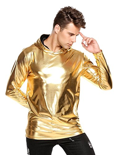 COOFANDY Men's Nightclub Style Metallic Shiny Casual Long Sleeve Pullover Hoodie Golden/Silver