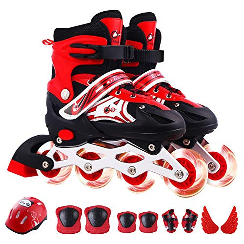 HAIRCURLER Inline Skates for Kids, Adjustable Inline Skates with Featuring All Illuminating Wheels, Safe and Durable Inline Skates, Fashionable Roller Skates Best Gift for Children'sRed-M 33~37