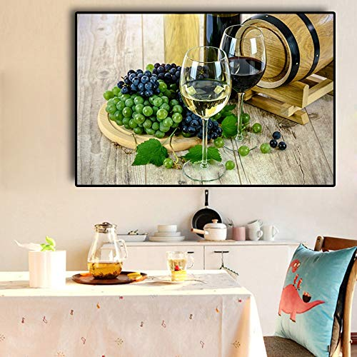 wZUN Wine glass grapes canvas painting posters and prints Nordic Nordic murals living room kitchen decoration painting 60x90 Frameless