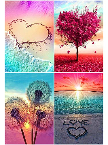 4 Pack DIY 5D Diamond Painting Kit Landscape Round Full Drill Diamond Arts Craft Canvas Supply for Home Wall Decor Adults Beginner and Kids (Mixed color6)