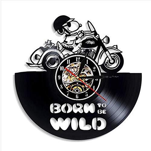Wandklok van vinyl, snoopy op een motorfiets met mute-lampen, 12 inch (30,5 cm)