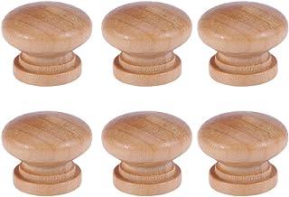 Voserea – Puxador de madeira leve com 6 peças de cogumelo para gaveta e móveis