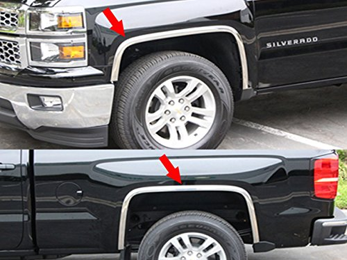 QAA fits 2016-2018 Chevrolet Silverado 4 Piece Molded Stainless Steel Wheel Well Fender Trim Molding WZ56181