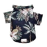 LHYZ Park Hawaiian Beach Coconut Tree Print Pet Dog Cat T-Shirts Cute for Small to Medium Dog Cats Cool Summer Vest Camp Shirt Clothes (S, Black Pineapple)