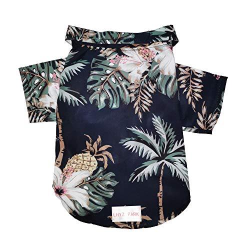 LHYZ PARK Hawaiian Beach Print Pet Dog Cat T-Shirts Cute for Small to Medium Dog Cats Cool Summer Vest Camp Shirt Clothes (XS, Black)
