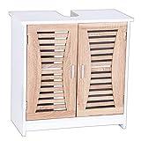 eSituro SBP0021 Meuble sous lavabo Salle de Bain 2 Portes sans lavabo,Meuble sur Pied...