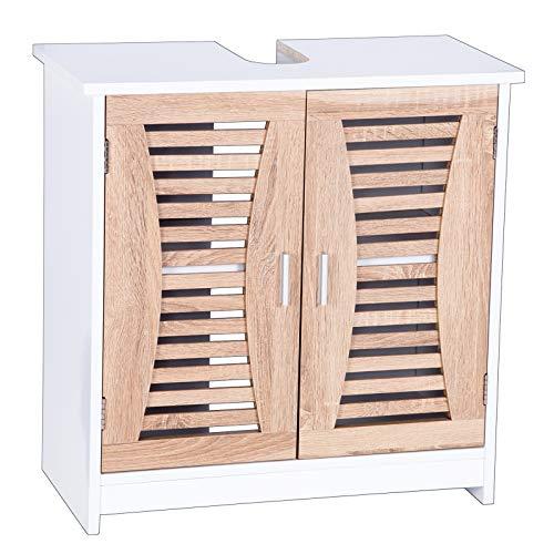 eSituro Mueble Bajo Lavabo Armario de Suelo para Baño Mueble de Baño Organizador 2 Puertas, MDF Blanco + Roble Claro 60x30x60 cm SBP0021