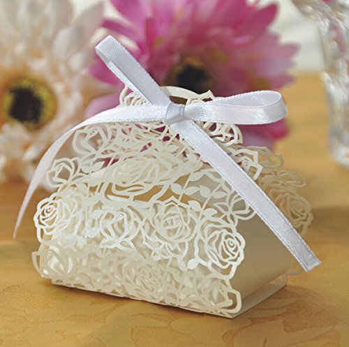 Saitec 50 Pack Laser Cut Rose Bride and Groom Candy Gift Box With Ribbon Wedding Favor Boxes Gift box Candy box (Ivory)