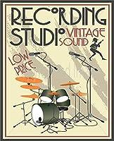 レコーディングスタジオブリキサイン、ヴィンテージ鉄塗装メタルプレートノベルティ装飾クラブカフェバー