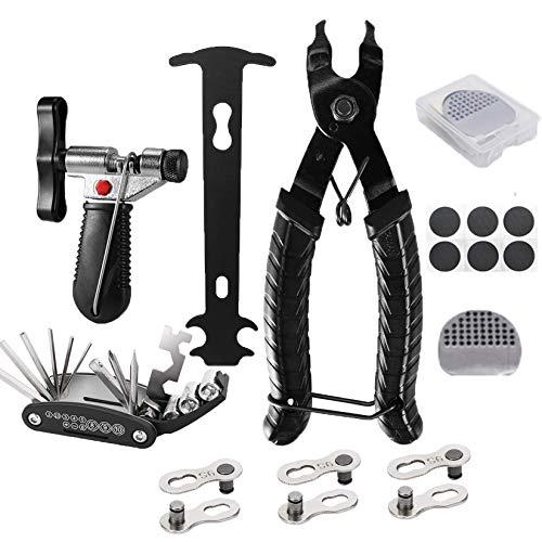 Bellatoi Fahrrad Kettenwerkzeug Kettennieter mit 3 Paar Fahrrad fehlt Link, Fahrrad Link Zange,Fahrrad Ketten Werkzeug, Ketten Prüfer,16 in 1 Werkzeuge und Selbstklebendes Fahrradflicken