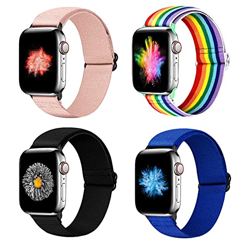 YCHDDER Nylon Elastic Watch Band Compatible with Apple Watch 42mm 44mm, Adjustable Sport Solo Loop Wristband Strap Compatible with iWatch Series 6/5/4/3/2 / 1SE(Pink+Darkblue+Rainbow+Gray)