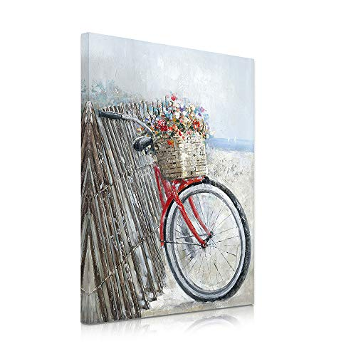 B BLINGBLING Flower Wall Art for Living Room: Bicycle Carrying Flowers Leaning on The Fence Farmhouse Kitchen Decor Gallery Wall Frame Set Easy to Hang (24'x32'x1 Panel)