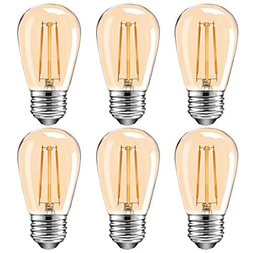 MZYOYO Bombilla LED Edison 2W S14 E27,Lámpara LED Vintage de Filamento 2W,150LM,2700K Blanco Cálido,Reemplaza Lámparas Halógenas de 15W,ángulo de haz de 360 °,Vidrio,No Regulable,ámbar,Paquete de 6